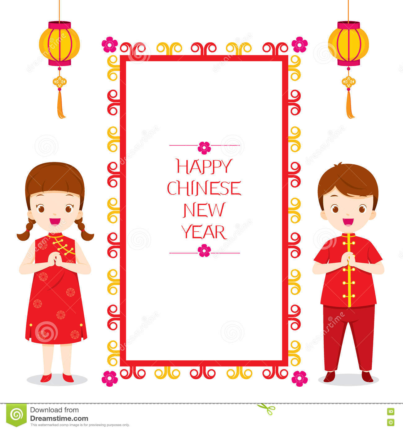 happy chinese new year frame with children