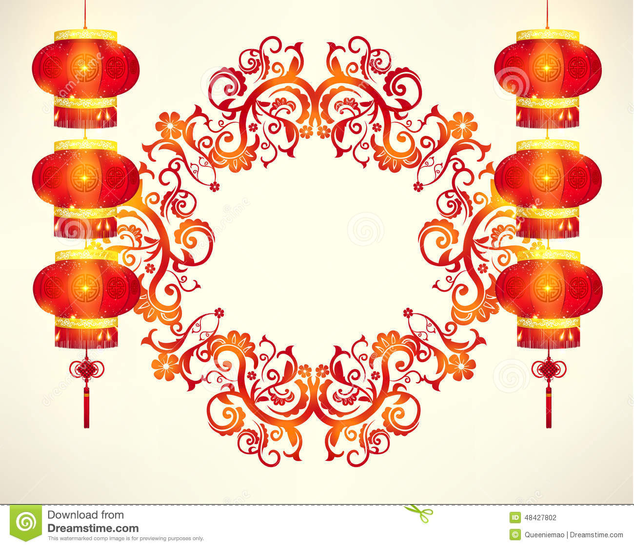 Happy Chinese New Year Frame Decoration Stock Illustration