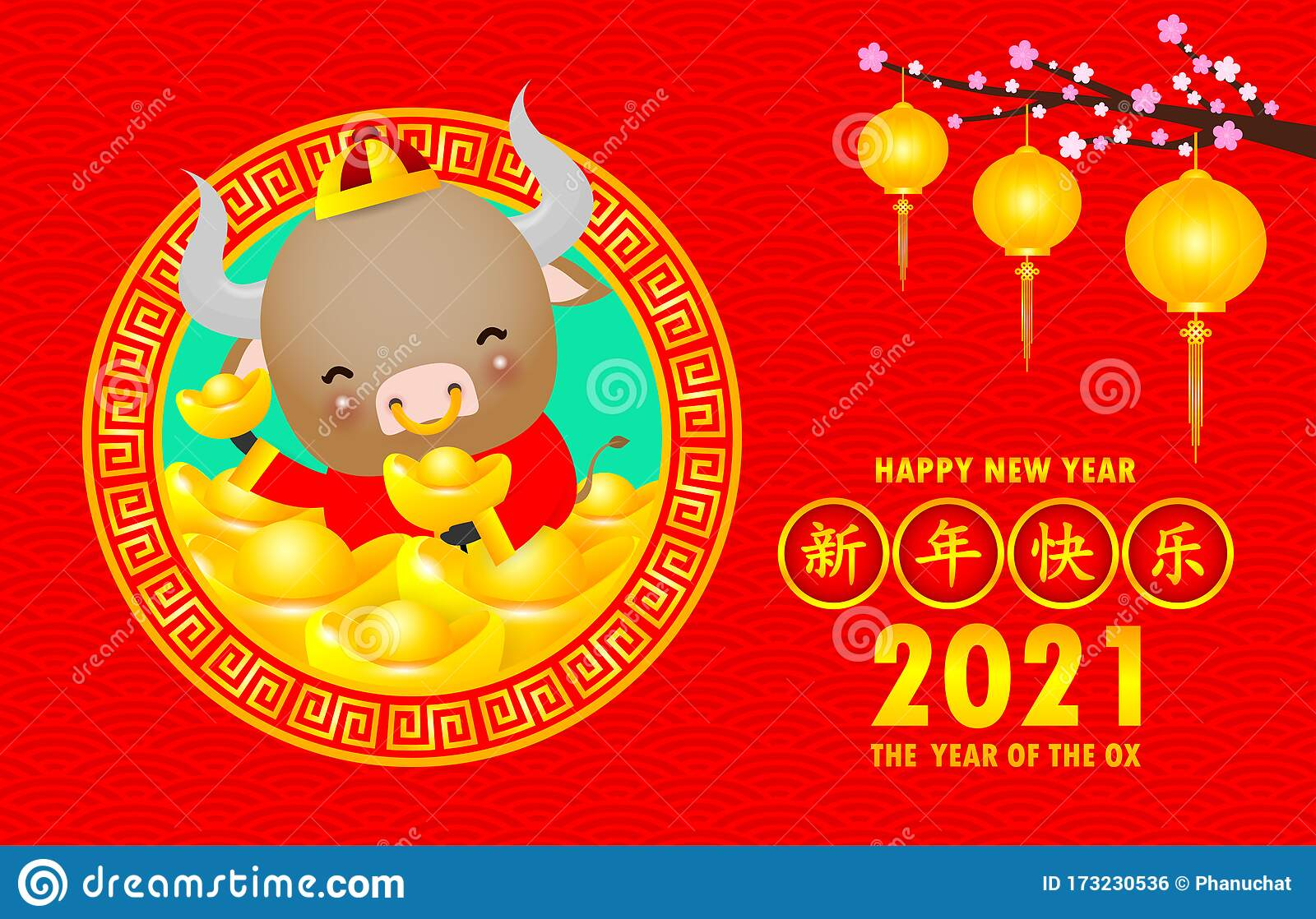 Happy Chinese New Year 2021 Greeting Card Cute Little Cow Holding Chinese Gold The Year Of The Ox Zodiac Cartoon Isolated Vector Stock Vector Illustration Of 2021 Card 173230536