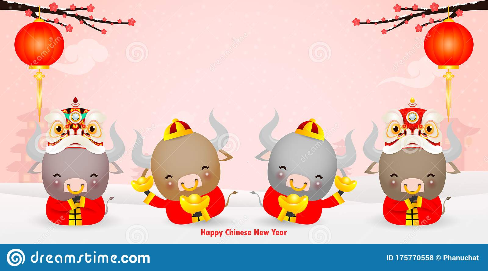 Happy Chinese New Year 2021 Greeting Card. Group Of Little ...