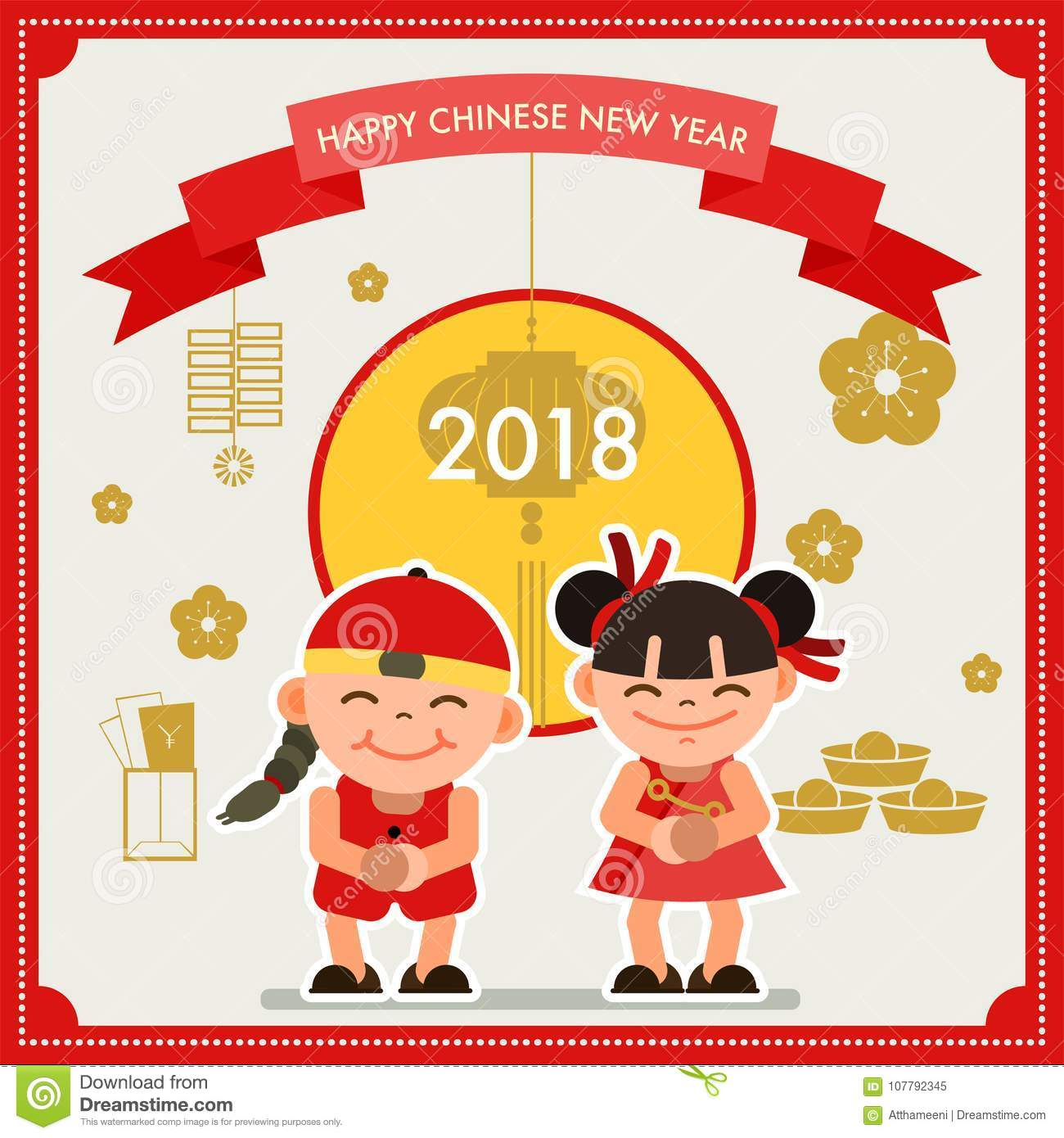Happy Chinese New Year Greeting Card 2018. Vector ...