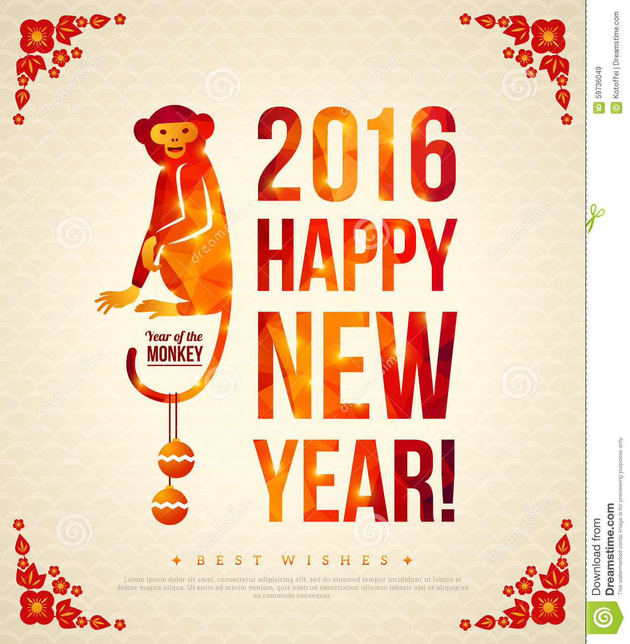 2016 Happy Chinese New Year Greeting Card With Monkey Stock