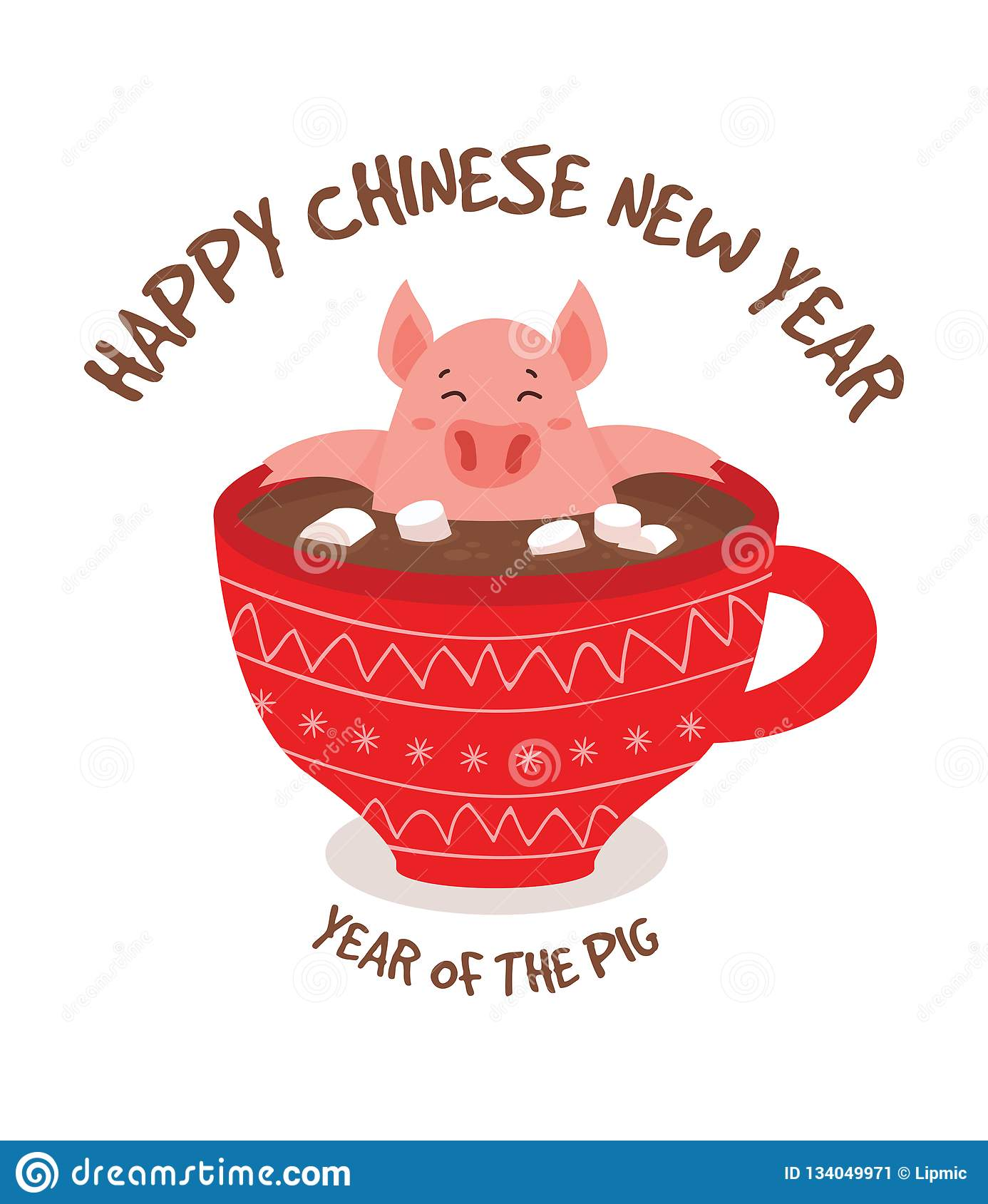 Happy Chinese New Year Greeting Card , Year Of A Pig. Cute ...