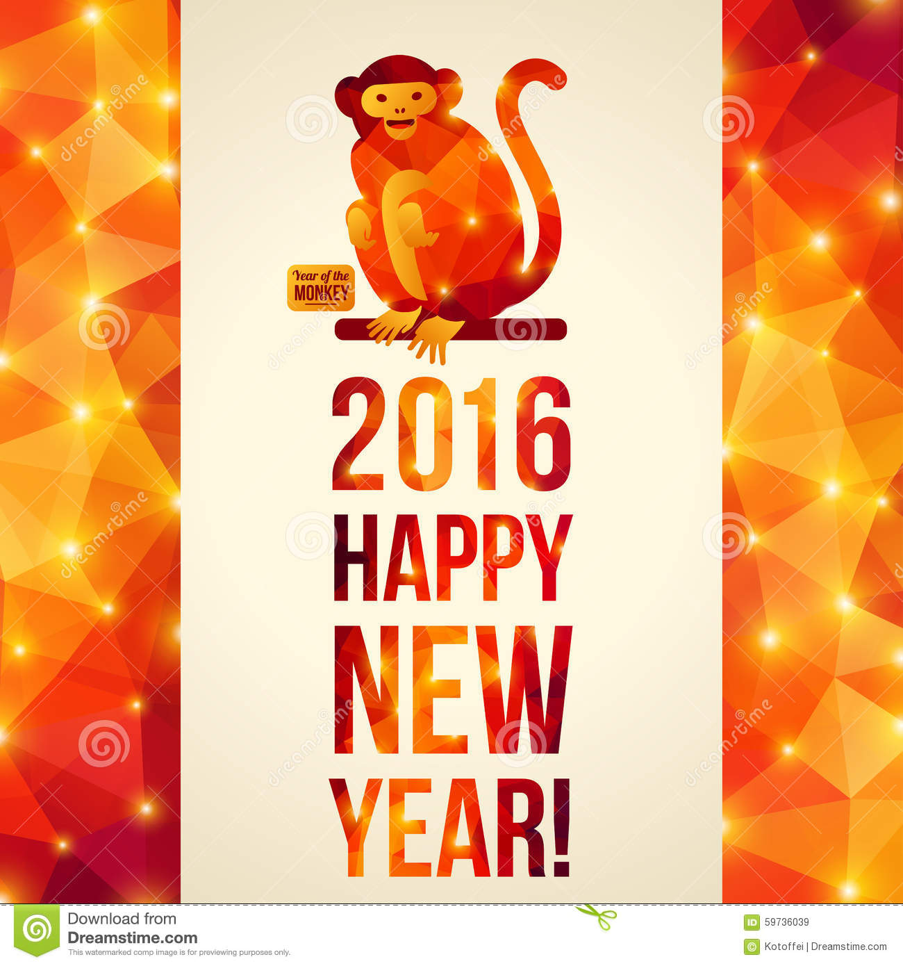 Happy Chinese New Year 2016 Greeting Card. Vector Illustration. Year ...