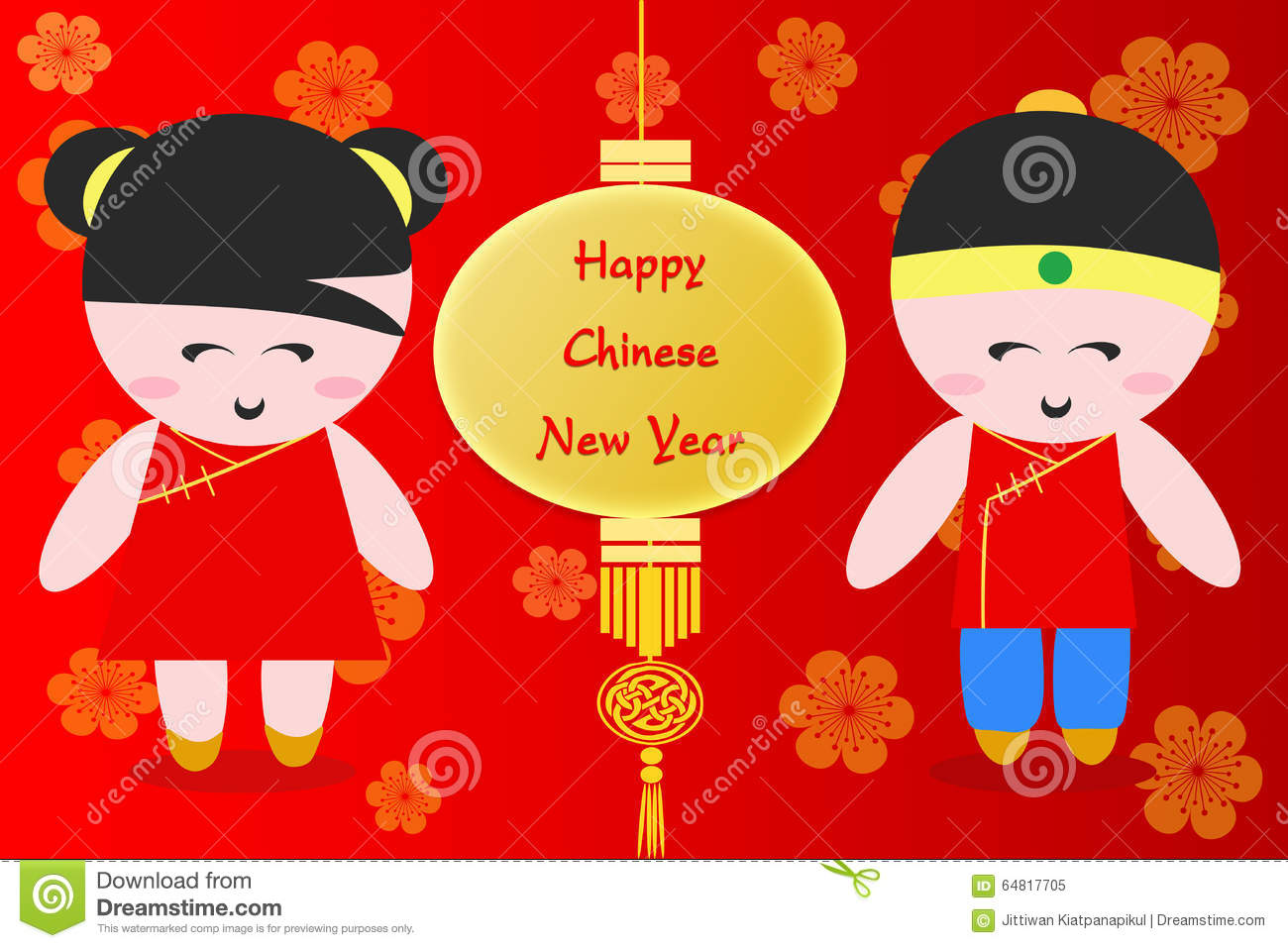 happy chinese new year greeting cartoon background