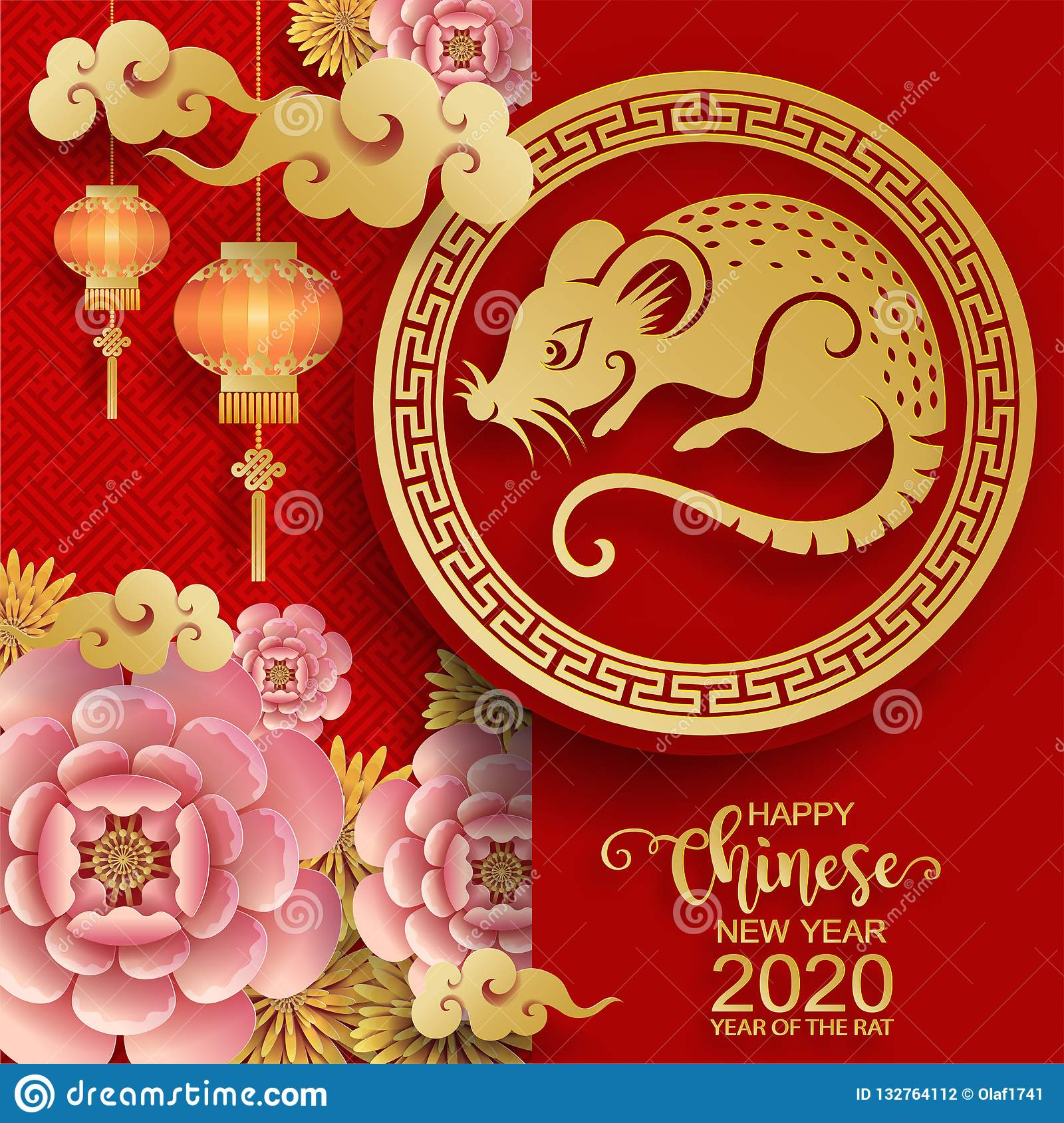 Happy Chinese New Year 2020 Stock Vector - Illustration of ...