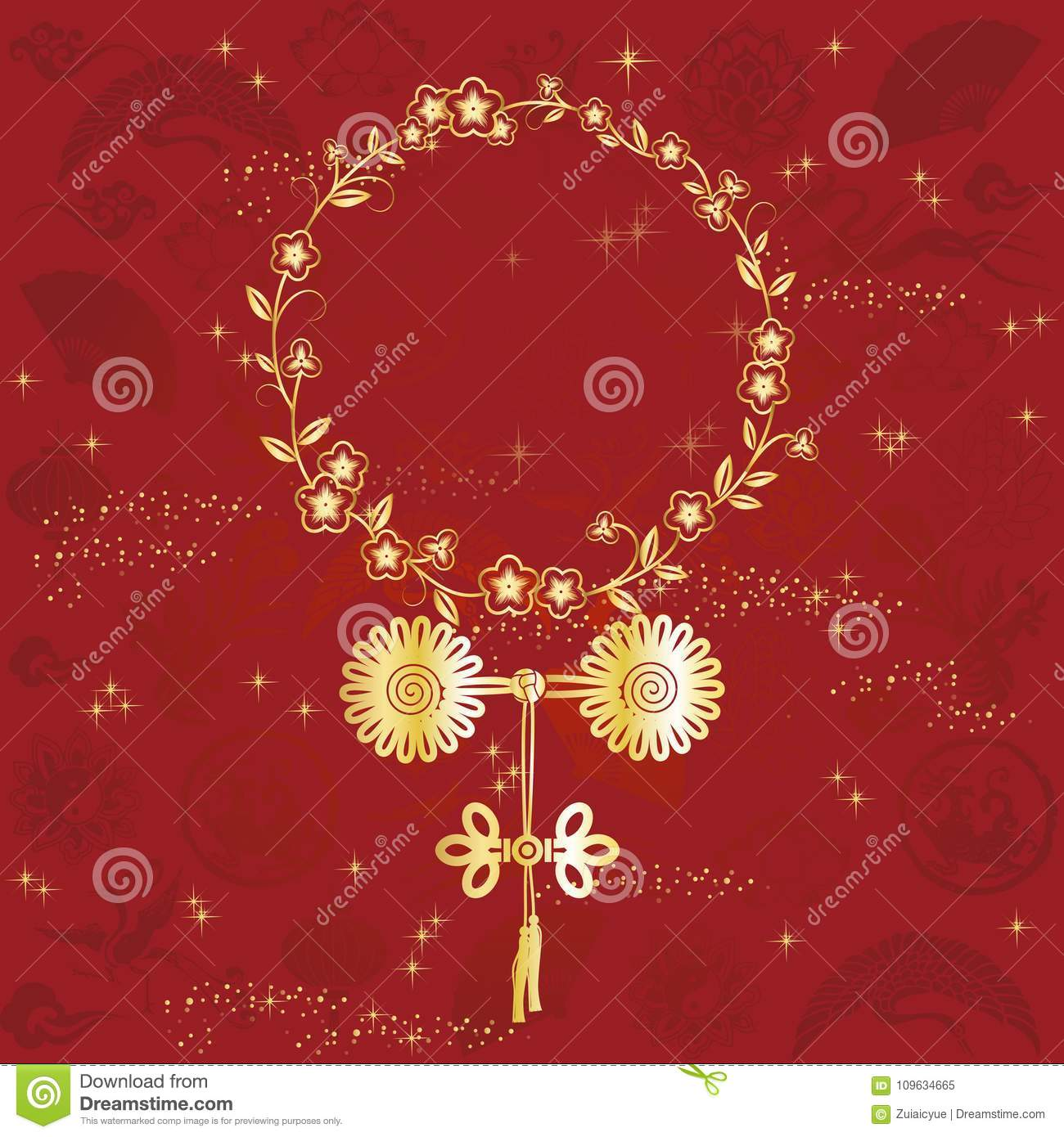 Holiday Greeting Cards With Chinese Knot Stock Vector Illustration