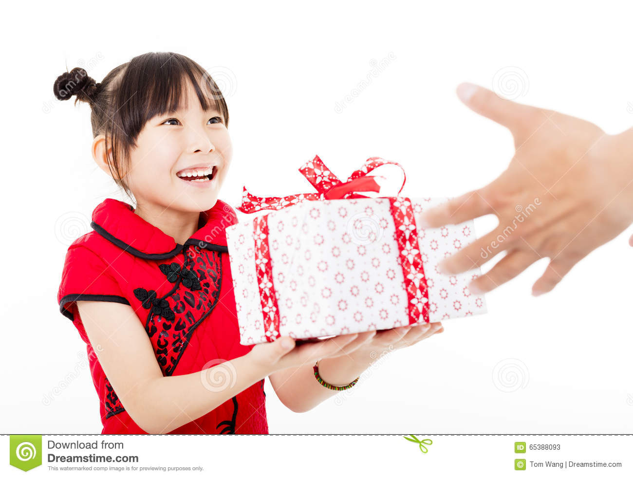 Happy Chinese New Yearlittle Girl Giving Gift Box Stock Photo