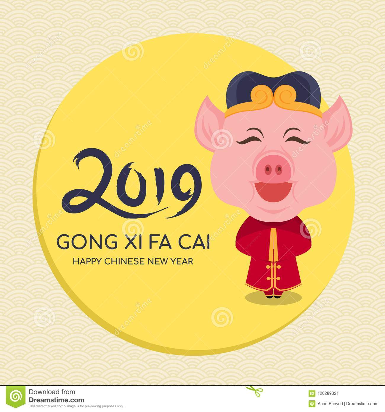 happy chinese new year 2019 year of the pig with cute cartoon chinese pig charactor in