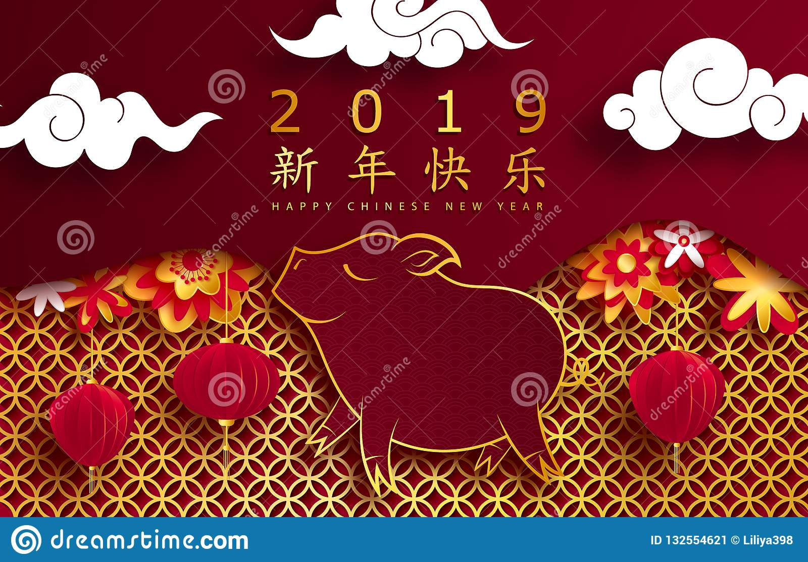 happy chinese new year 2019 year of the pig paper cut style background for greetings