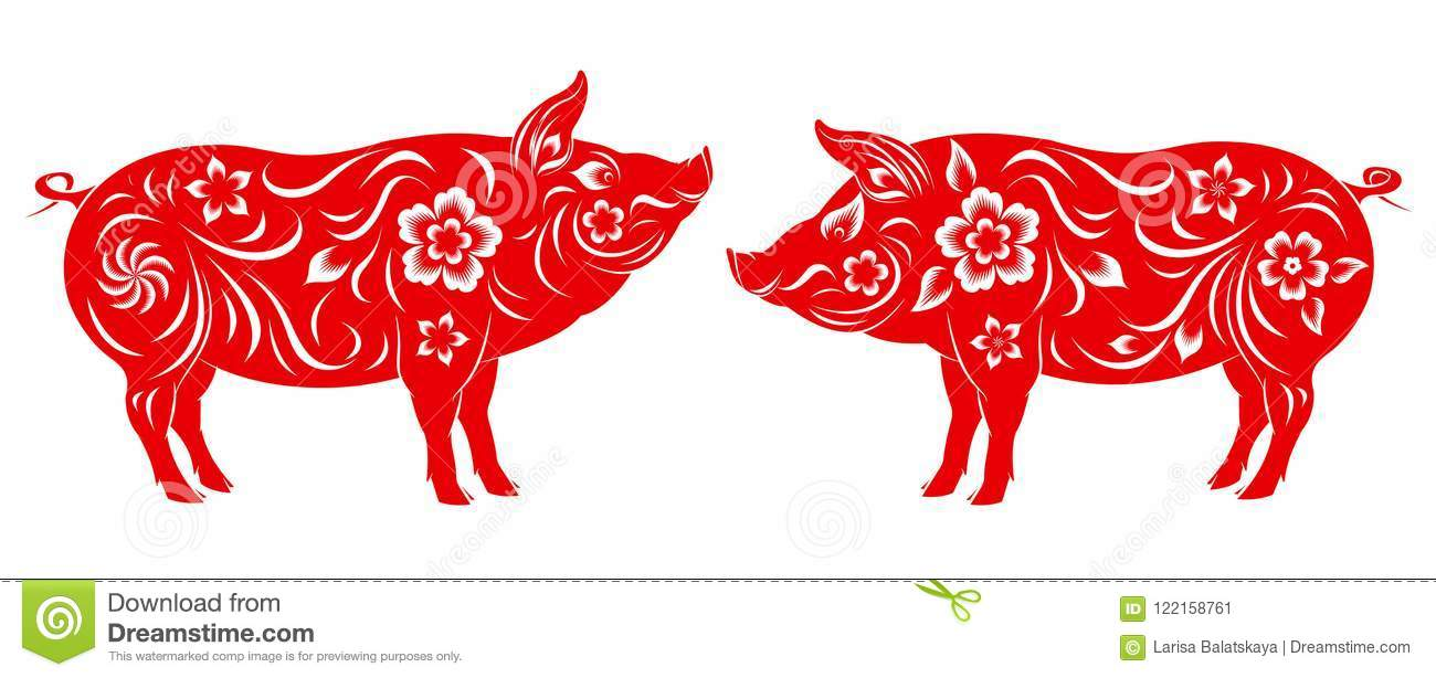 Happy Chinese New Year 2019 Year Of The Pig Stock Vector