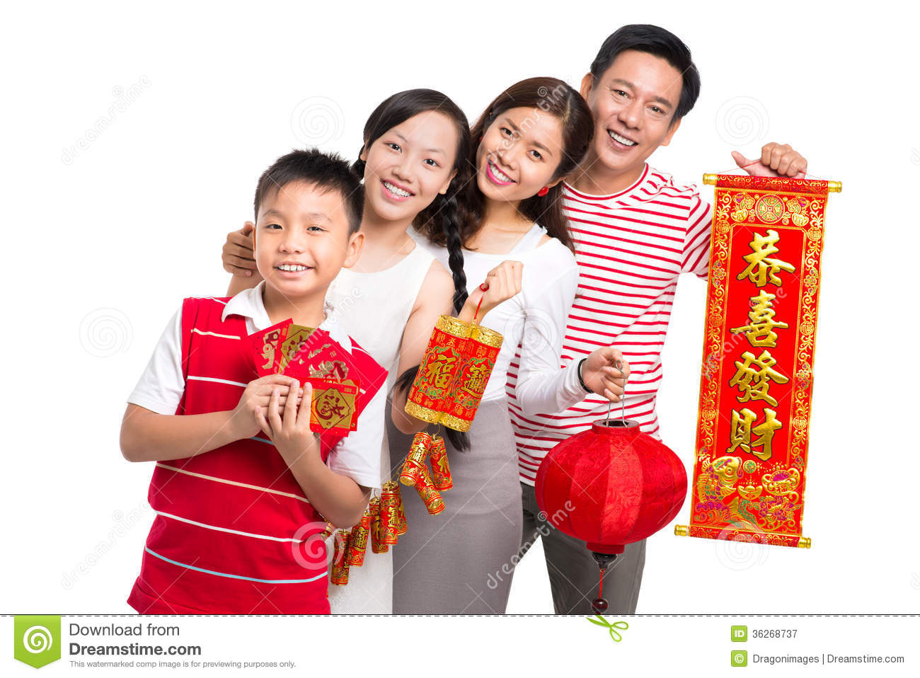 ... happiness in the New Chinese Year standing against a white background