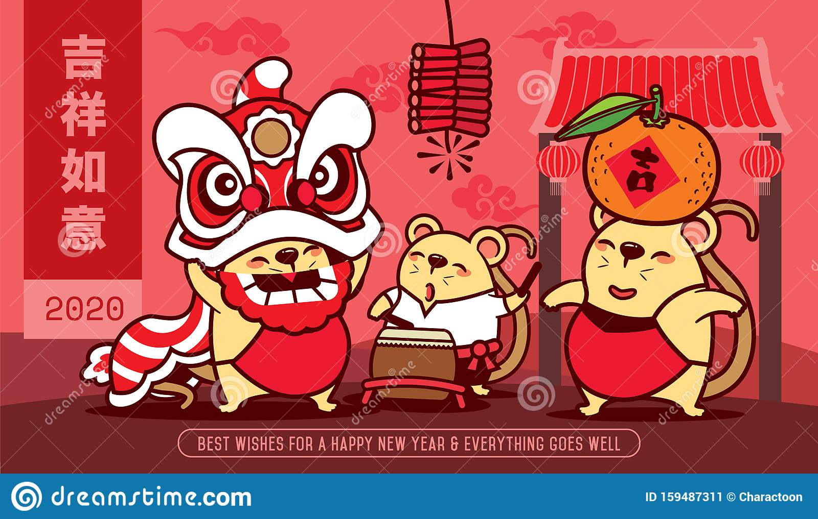 Happy Chinese New Year 2020. Year Of The Rat. Cute Little ...