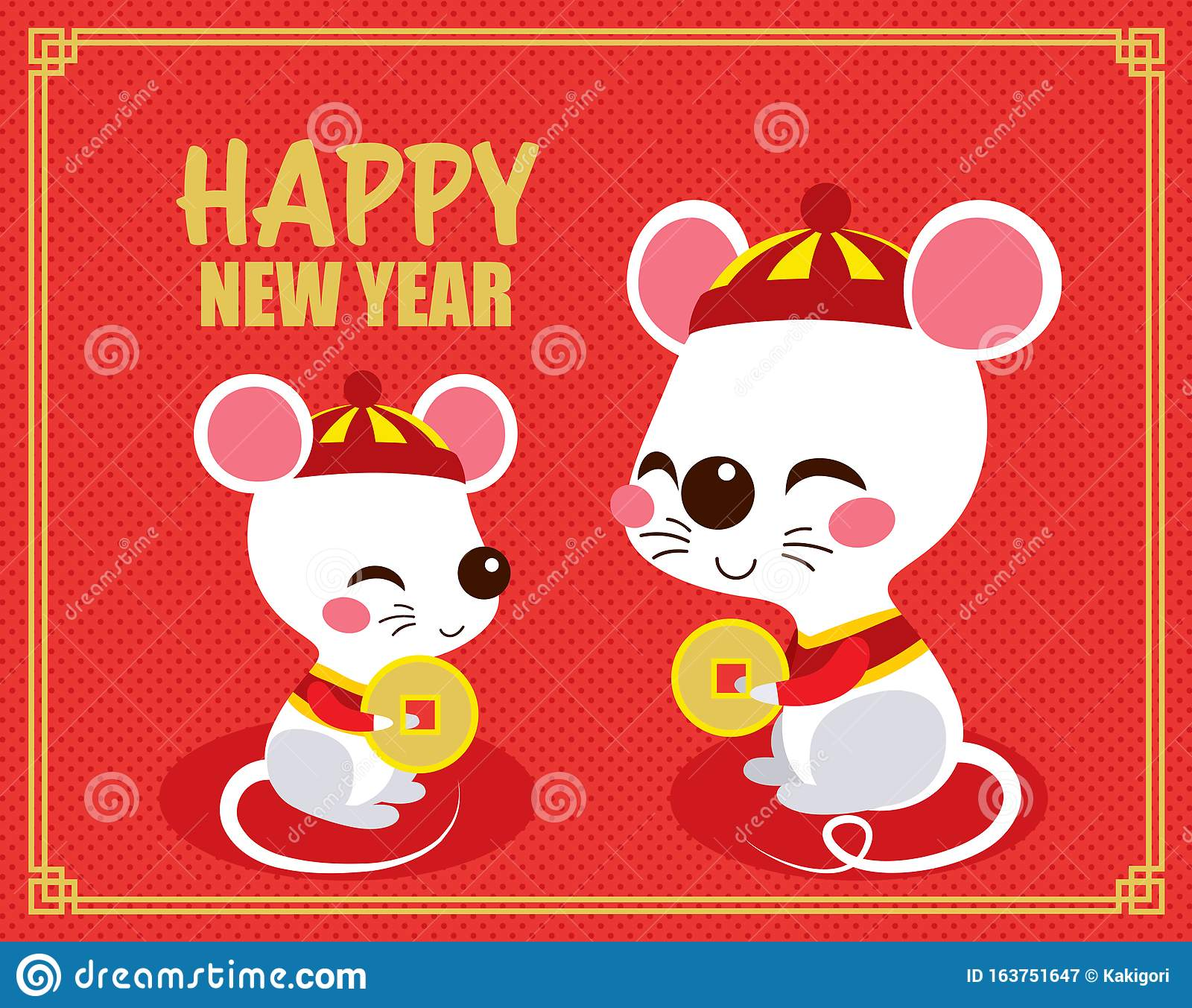 Happy Chinese New Year Rats Stock Vector - Illustration of ...