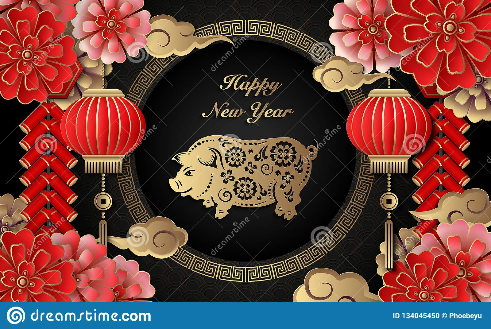 Happy Chinese new year retro gold relief flower lantern pig cloud firecrackers and lattice round frame