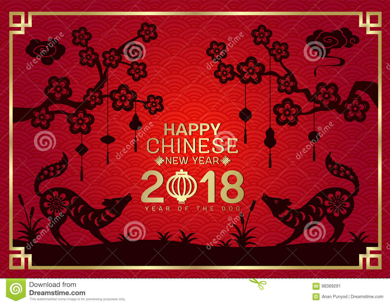 Happy Chinese New Year 2018 With Silhouette Paper Cut Dog