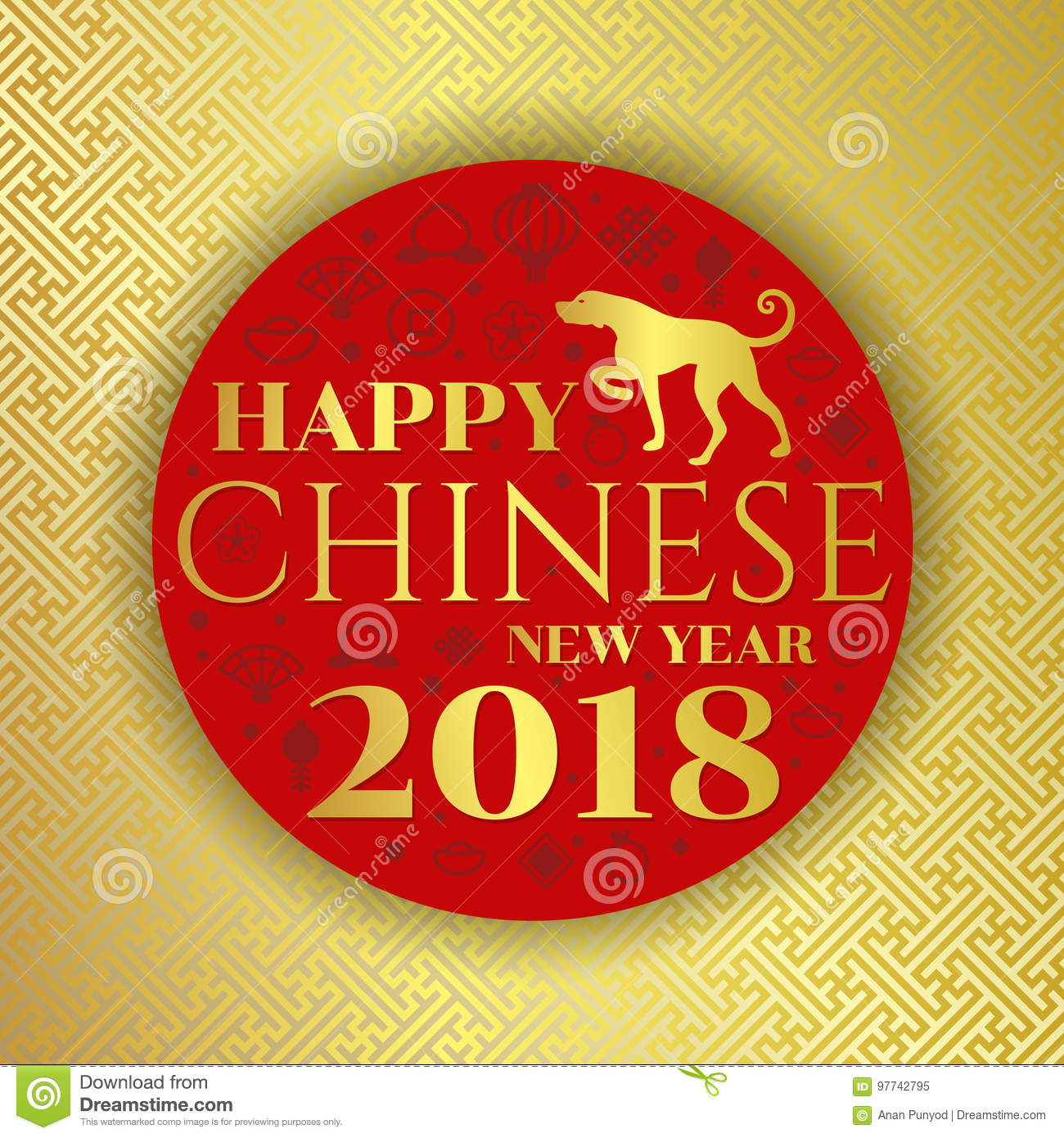 happy chinese new year 2018 text and dog zodiac on red circle with china icon sign