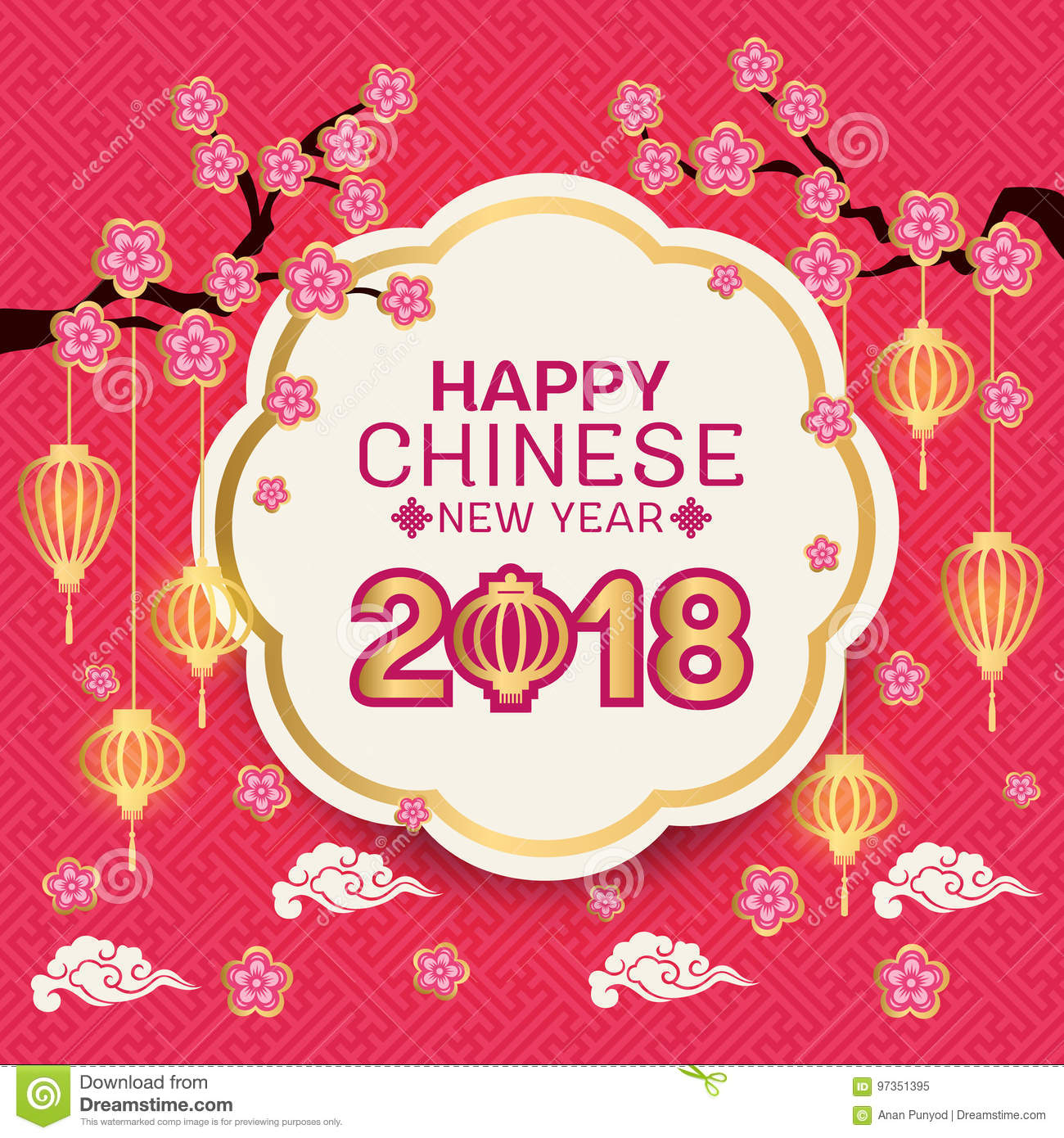 happy chinese new year 2018 text on gold border white circle banner and pink flowers branch
