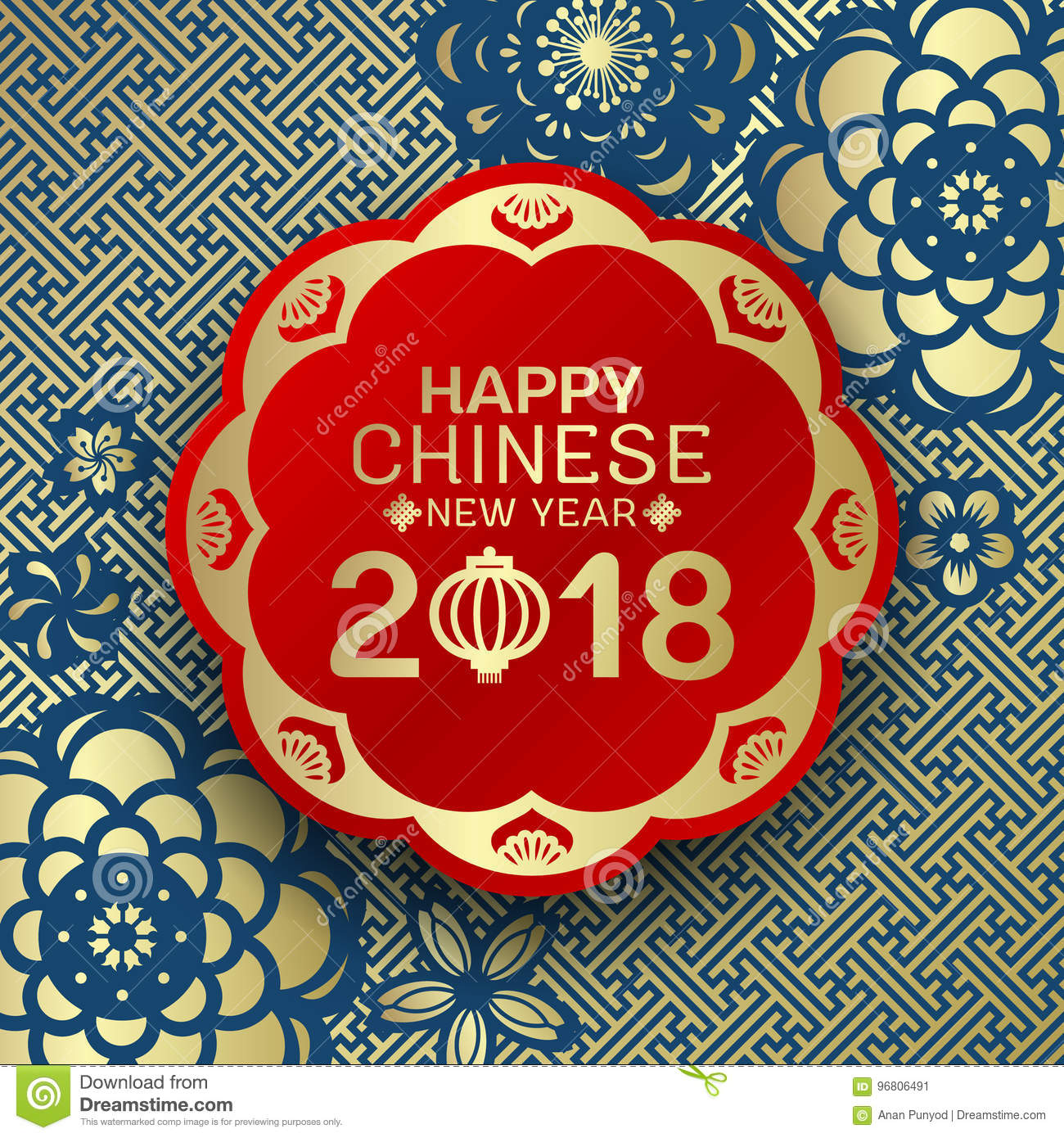 Happy Chinese new year 2018 text on red circle banner and blue gold flower china pattern abstract background vector design