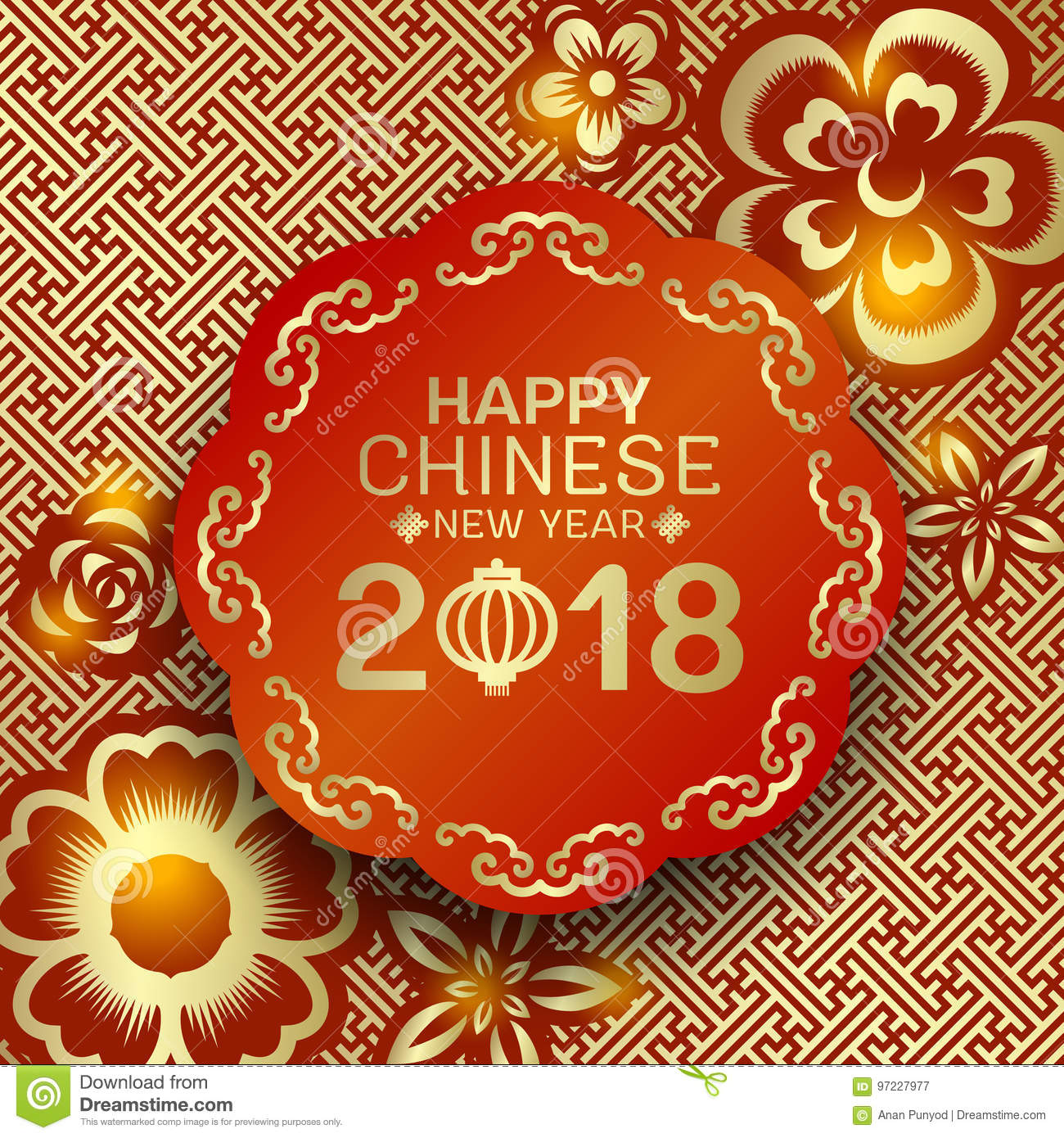 happy chinese new year 2018 text on red circle banner and bronze gold flower china pattern