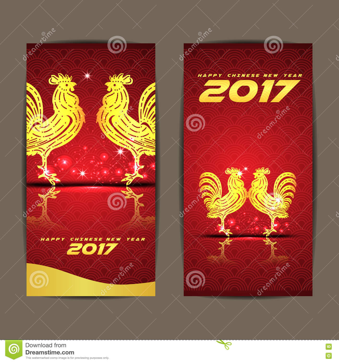 download happy chinese new year 2017 the year of chicken and red background stock vector