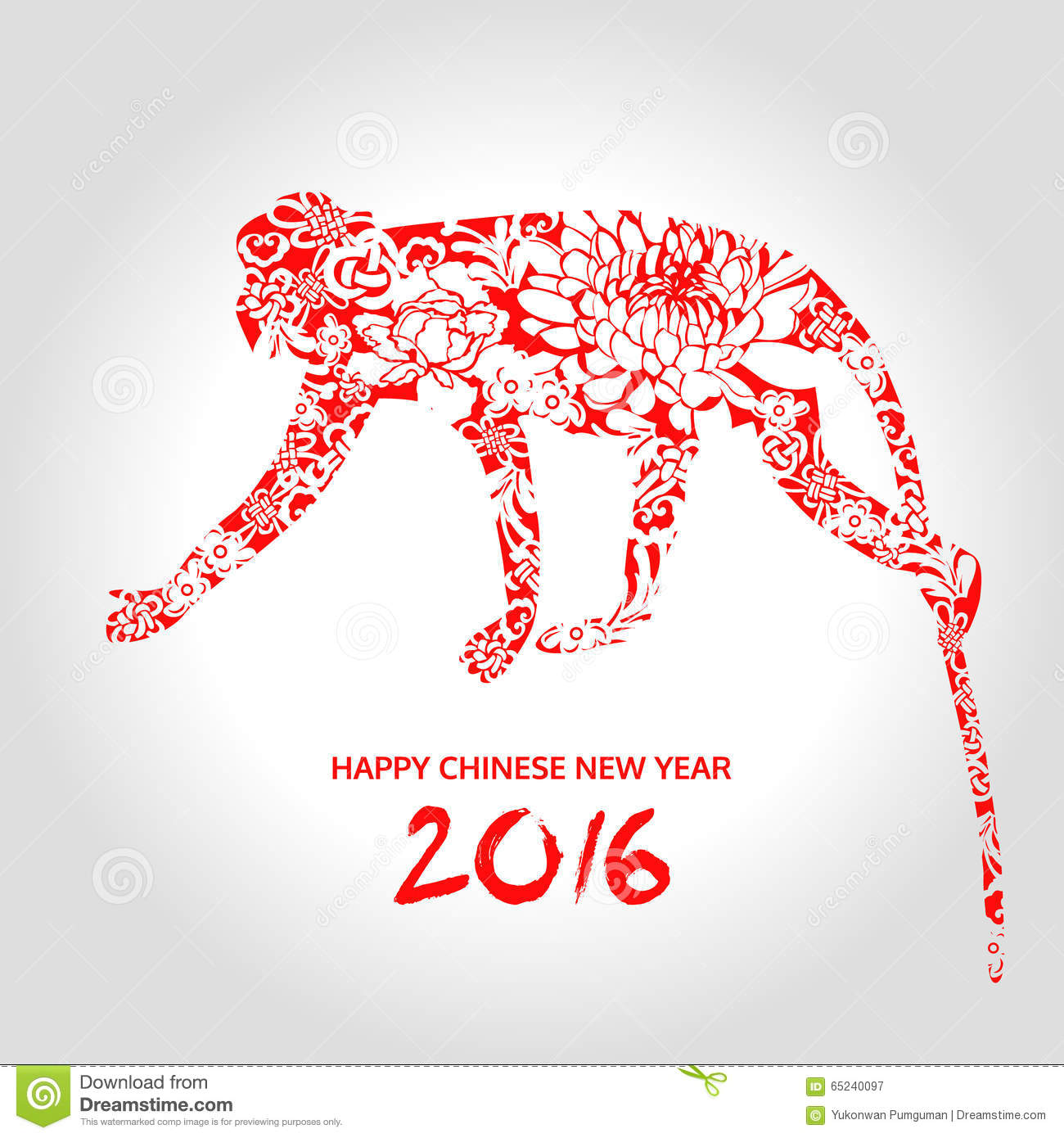 happy chinese new year year of monkey animal vector - Chinese New Year Year Of The Monkey