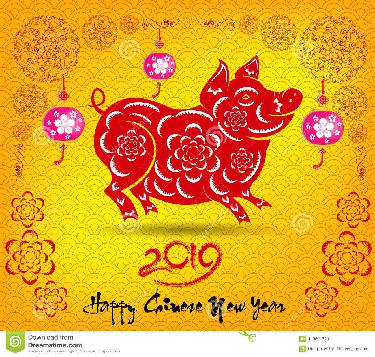Chinese New Year 2019 Animal Happy Chinese New Year 2019 Year Of The Pig. Lunar New Year Stock