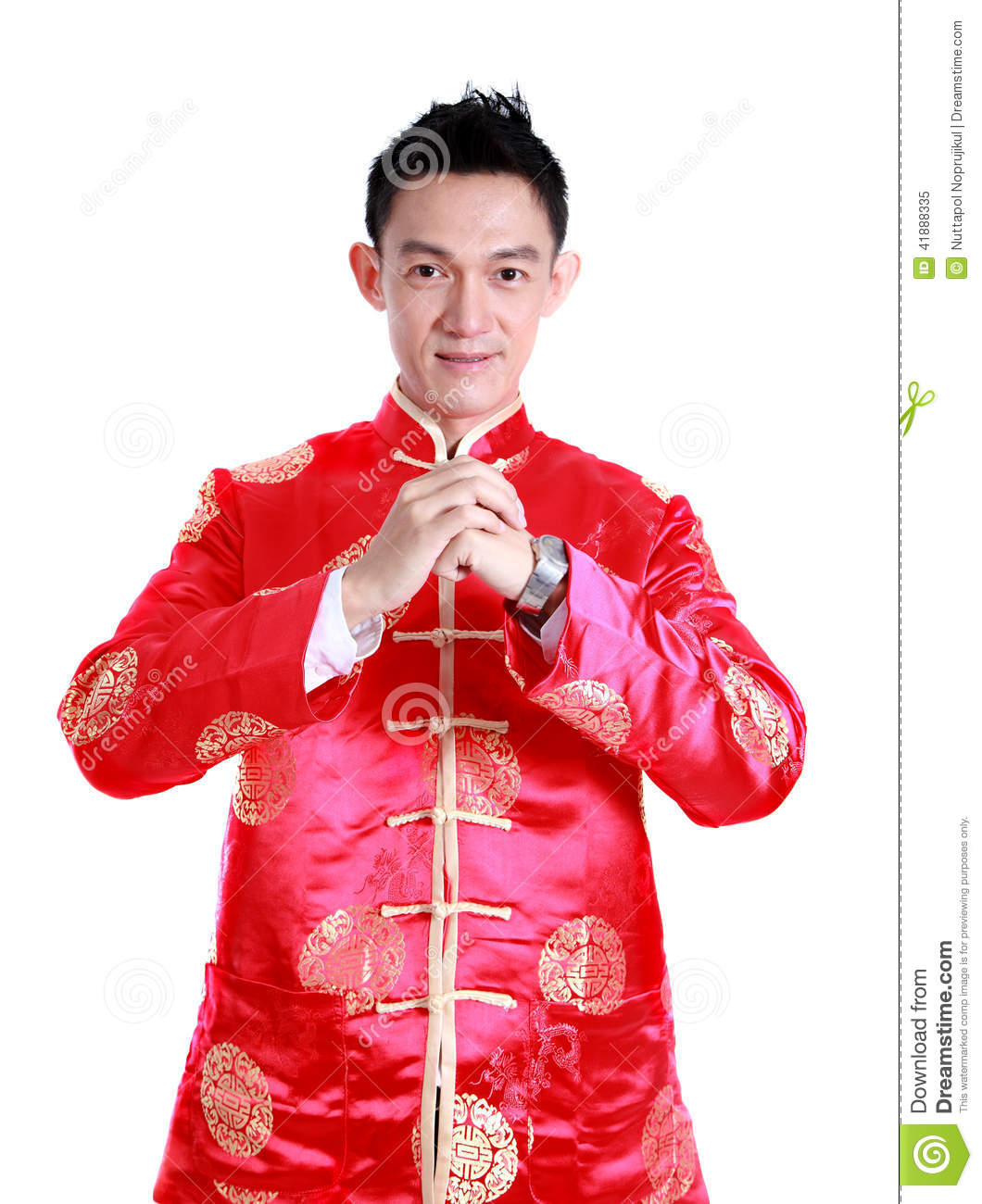 happy chinese new year young asian man with gesture of congratul stock photo