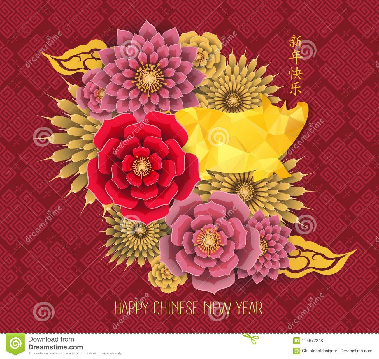 happy chinese new year 2019 zodiac sign with gold paper cut art and craft style on color background chinese characters mean happy new year
