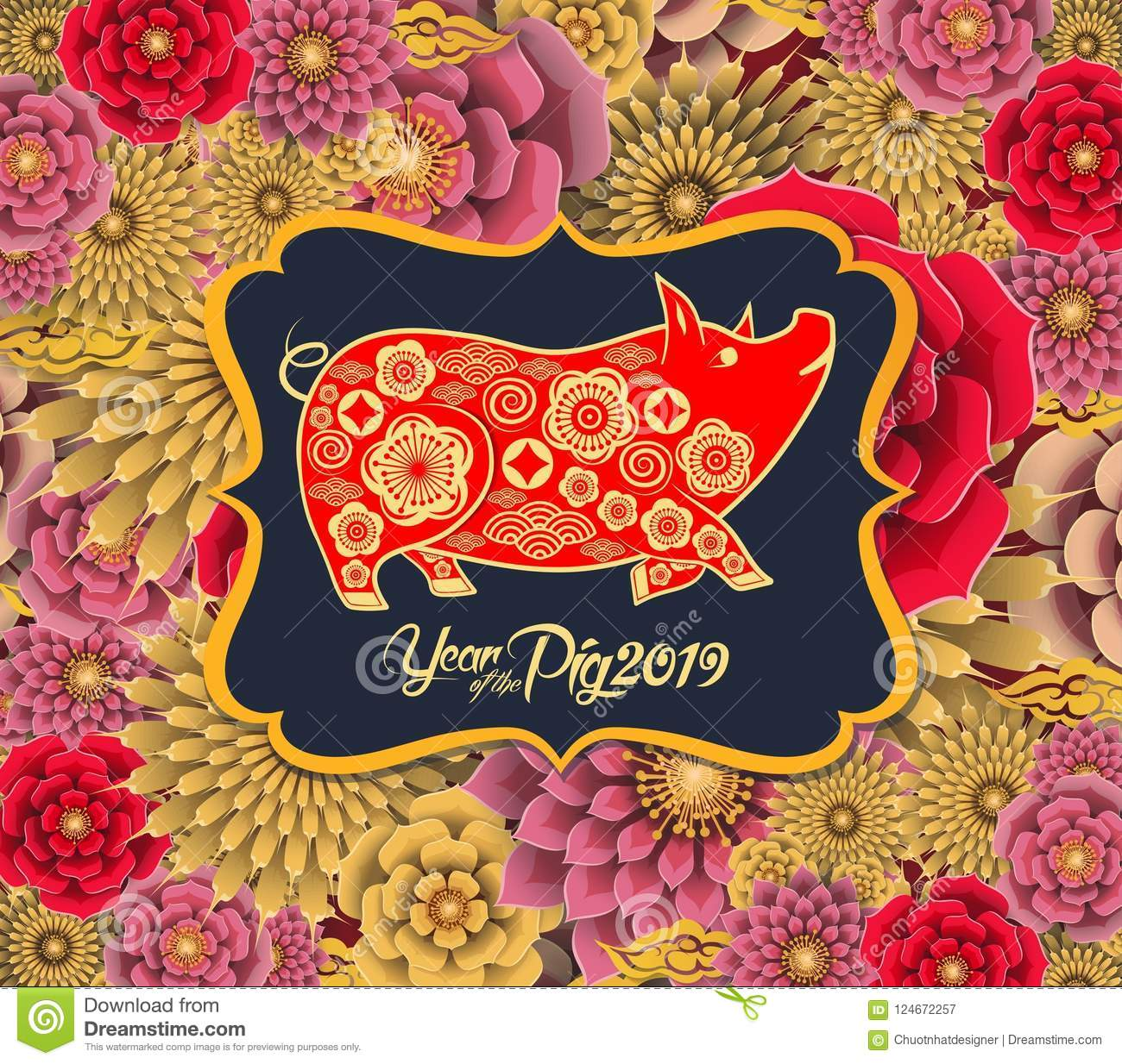 Happy chinese new year 2019 Zodiac sign with gold paper cut art and craft style on color Background. Chinese characters mean Happy