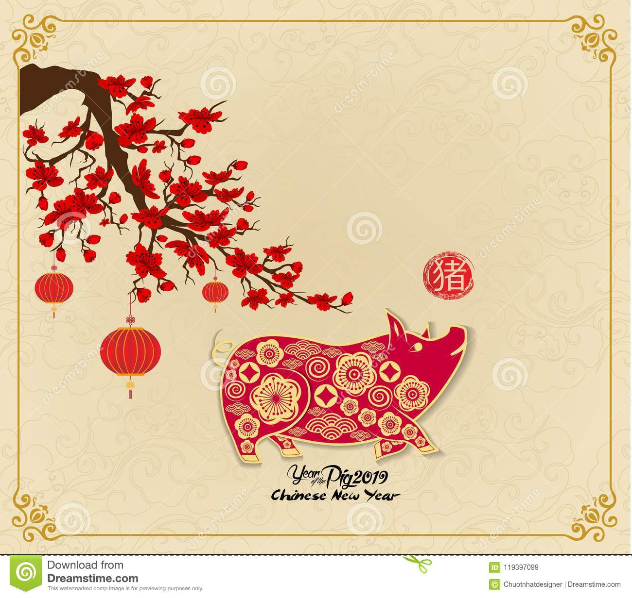 Happy chinese new year 2019 Zodiac sign with gold paper cut art and craft style on color Background hieroglyph: Pig