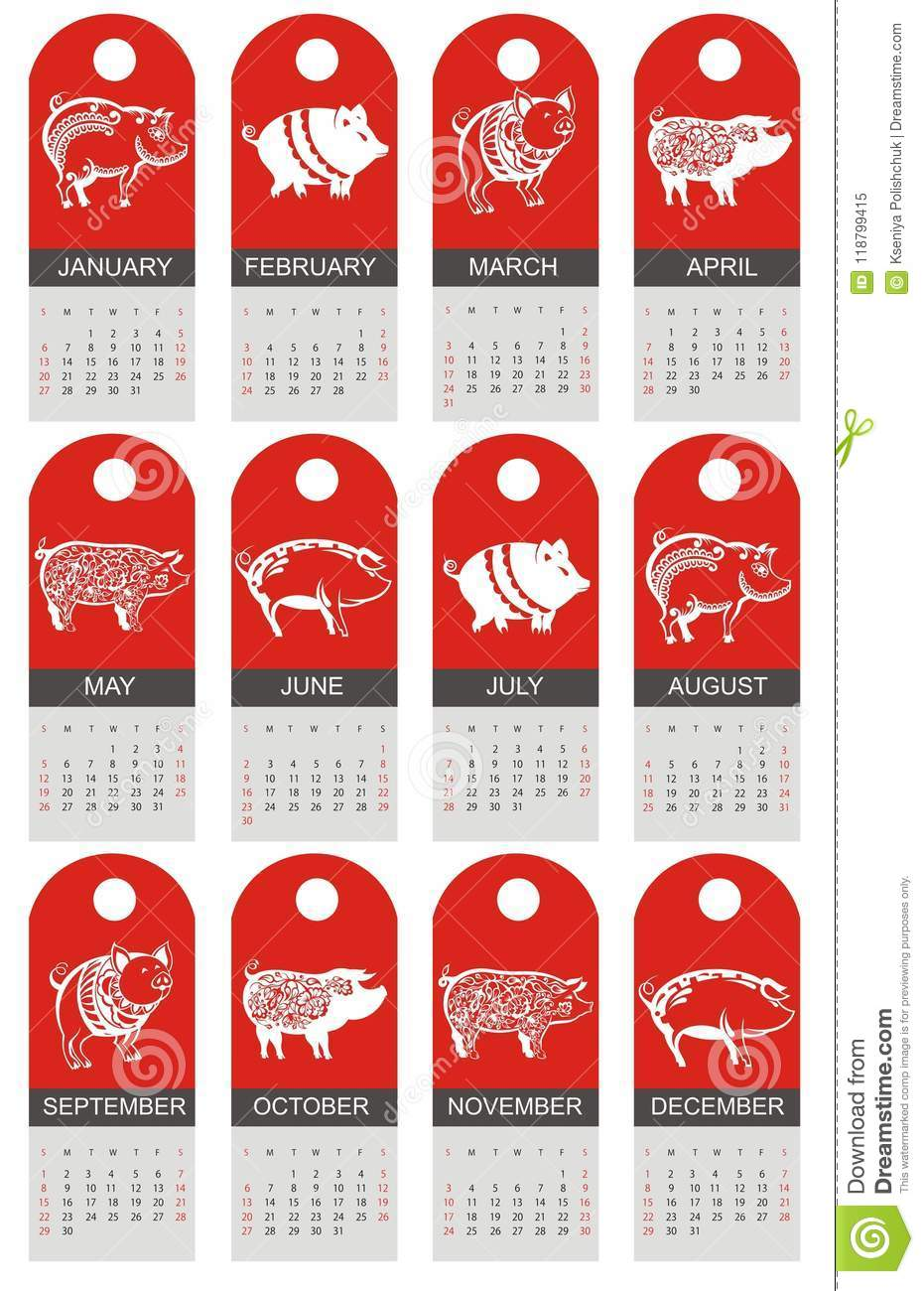 New Zodiac Signs 2019 Happy Chinese New Year 2019 Zodiac Sign Year Of The Pig Stock
