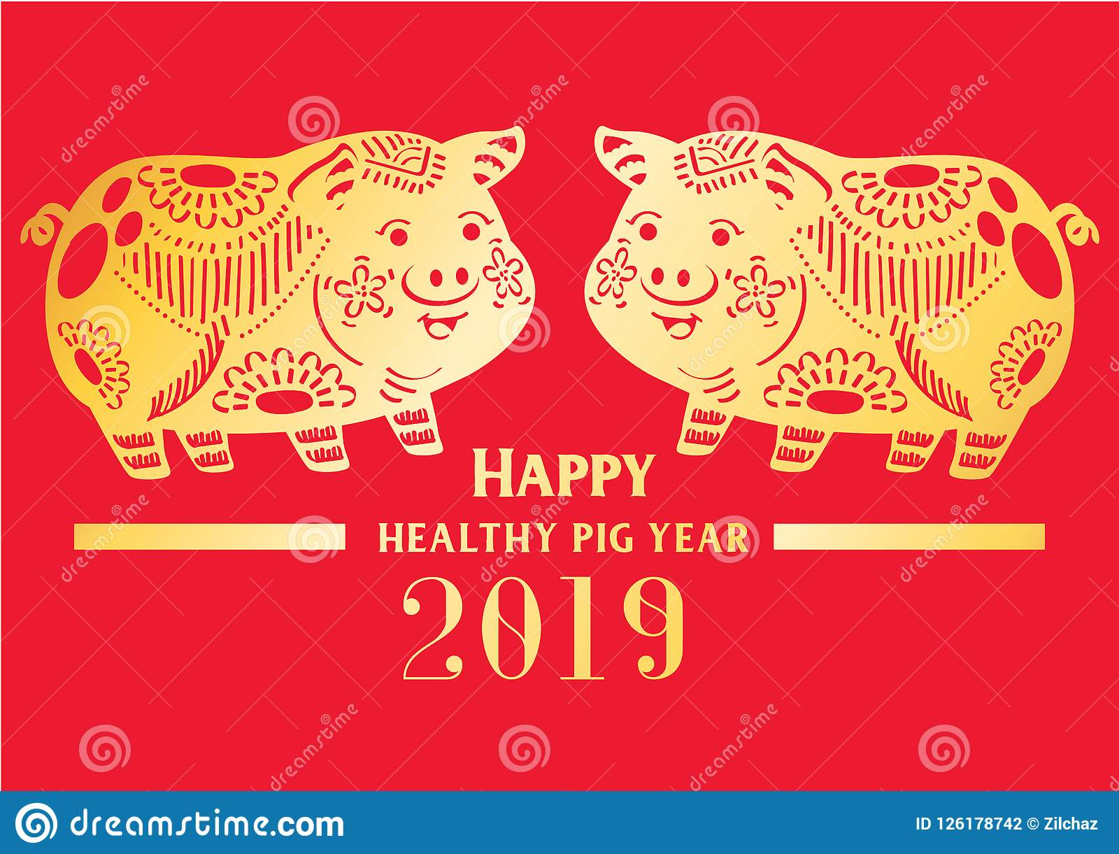Happy Chinese Wealthy Golden Pig New Year 2019 Stock Illustration