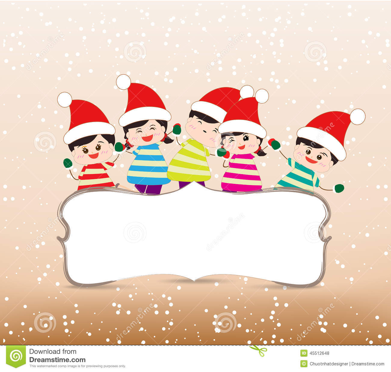 Happy Christmas Banner With Kids Stock Vector Image