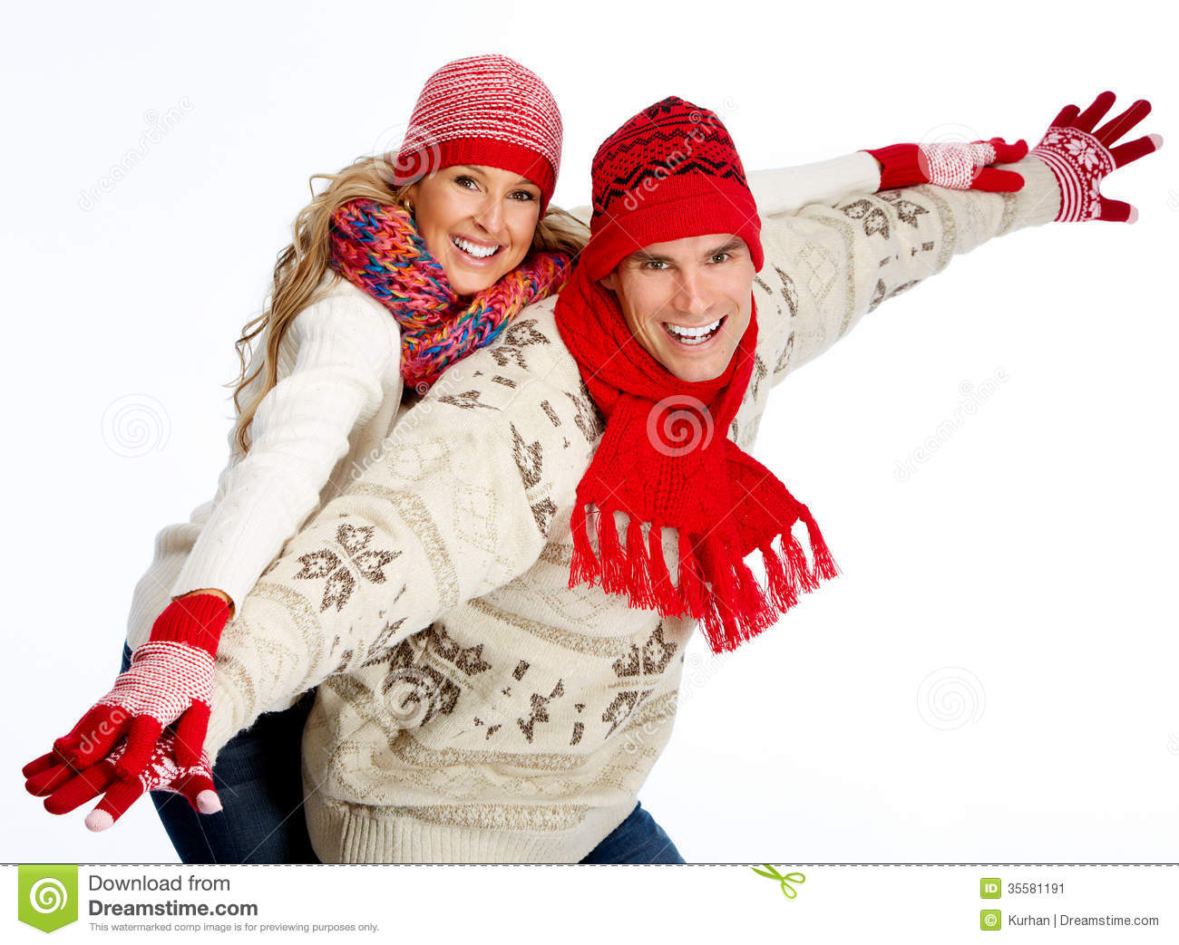 Happy Christmas Couple In Winter Clothing. Stock Image - Image ...