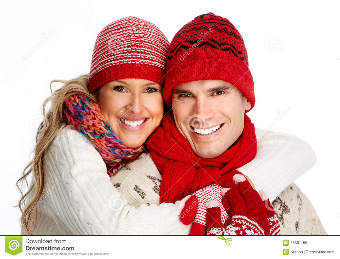 Happy Christmas Couple In Winter Clothing. Royalty Free Stock ...