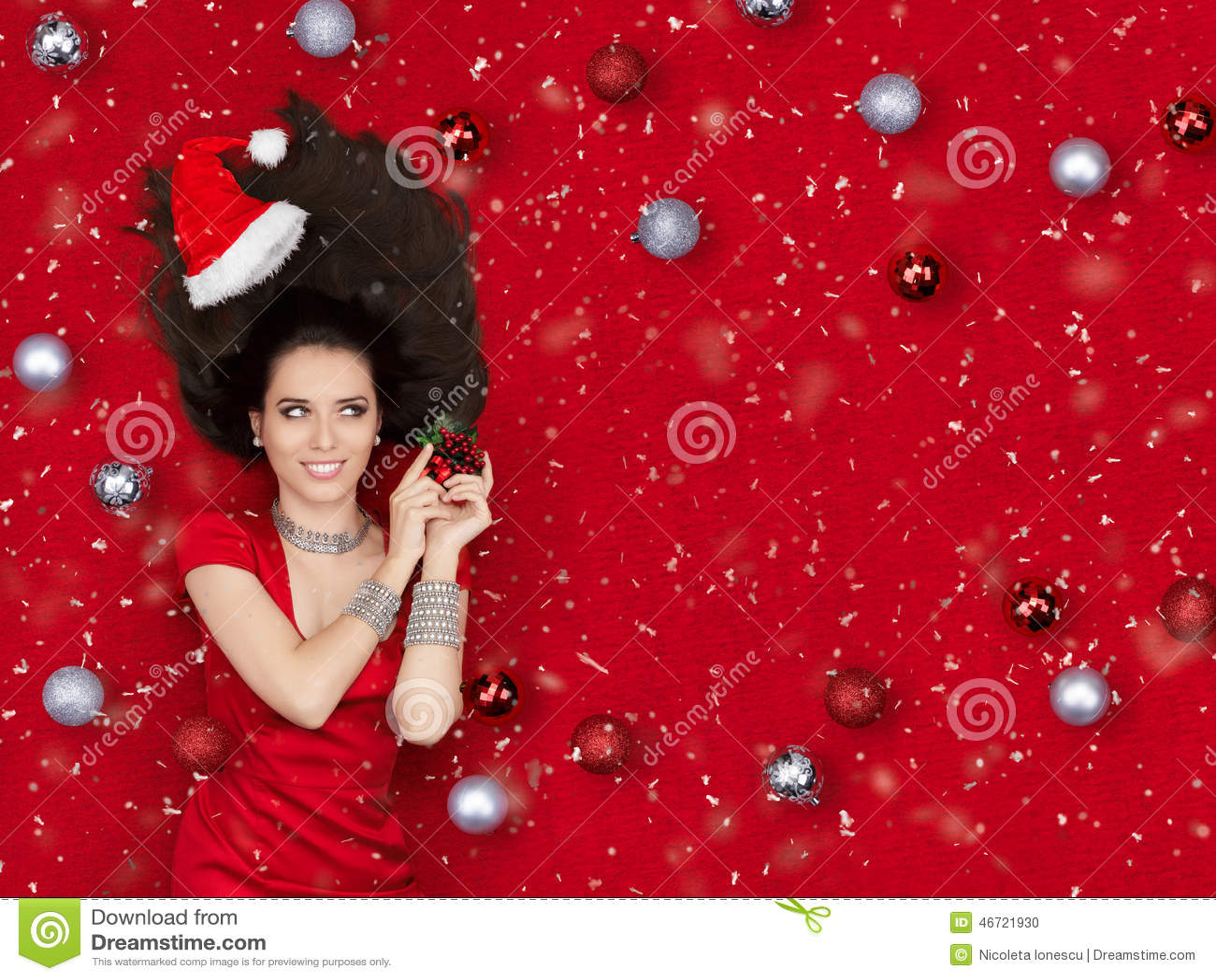 Happy Christmas Girl Holding a Mistletoe