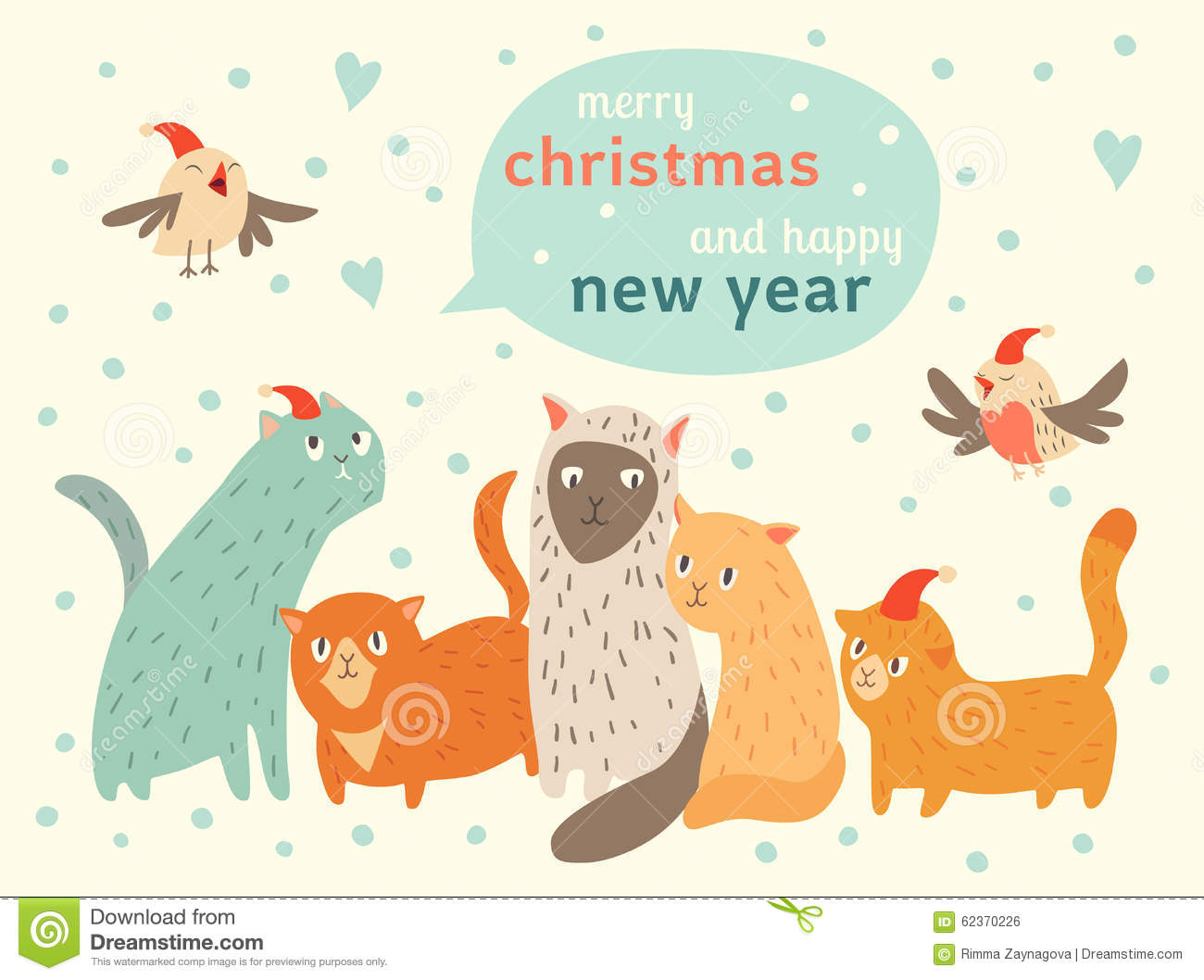 happy christmas and happy new year card with cute cats and birds in santa hat