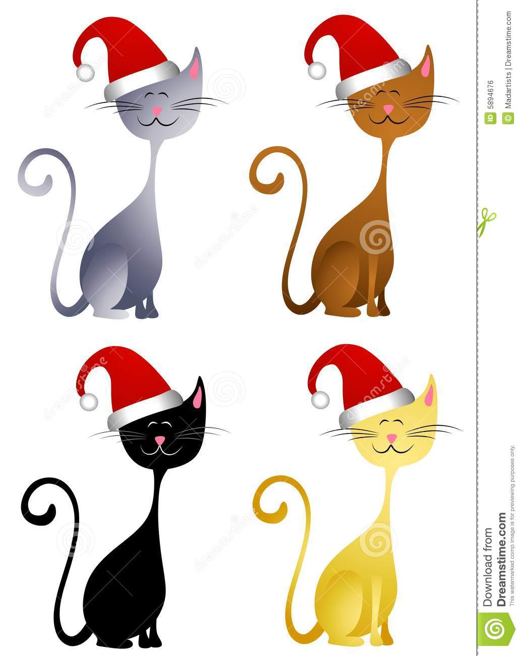 happy christmas hat cats stock illustration illustration of rh dreamstime com christmas kitty clipart christmas dog and cat clipart