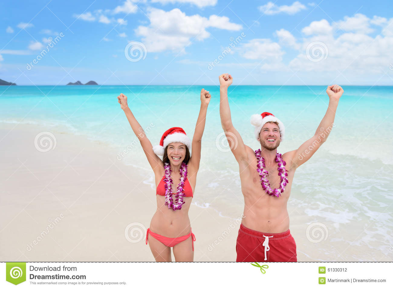 Hawaii Christmas.Happy Christmas Holiday Couple On Hawaii Beach Stock Photo