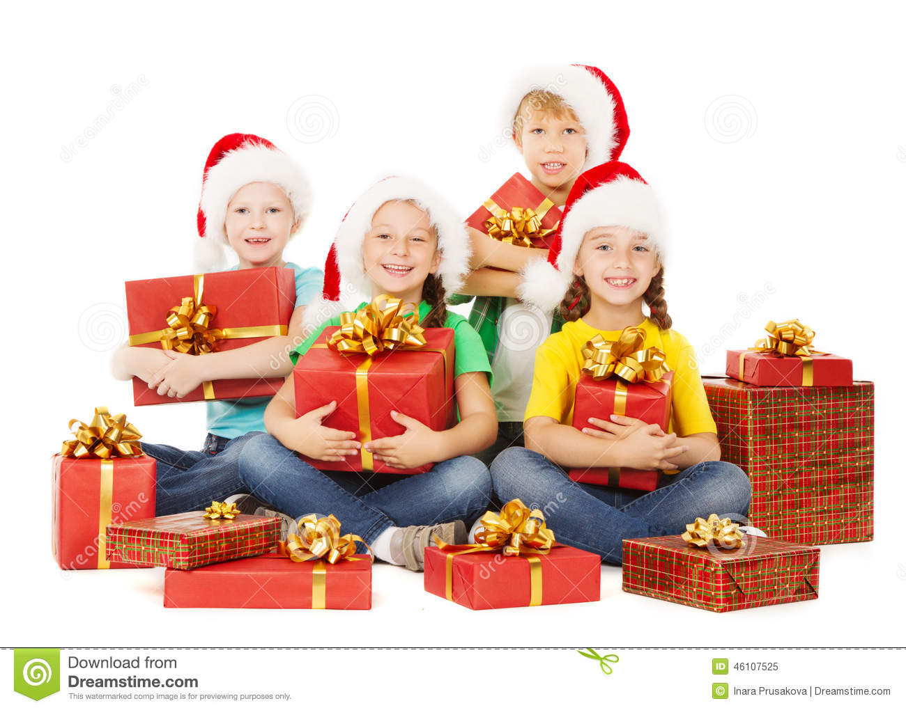 Christmas Kids Presents. Children In Hatewith With Gifts Stock Image ...