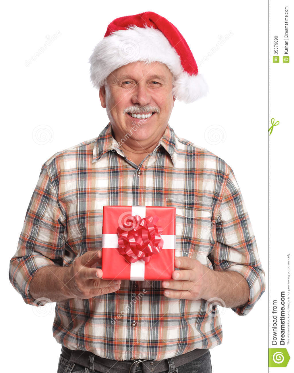 Happy Christmas Man With Xmas Gift. Stock Photo - Image: 35579890