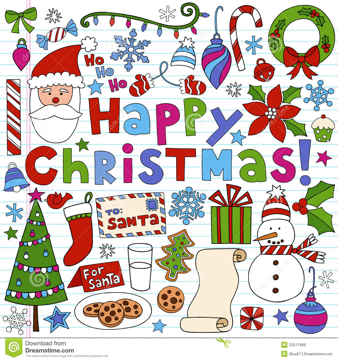 Happy Christmas Notebook Doodles Royalty Free Stock Photos