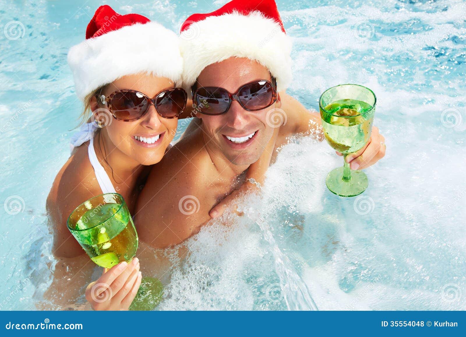 Happy Christmas Santa Couple In Jacuzzi Royalty Free Stock Photos Image 35554048