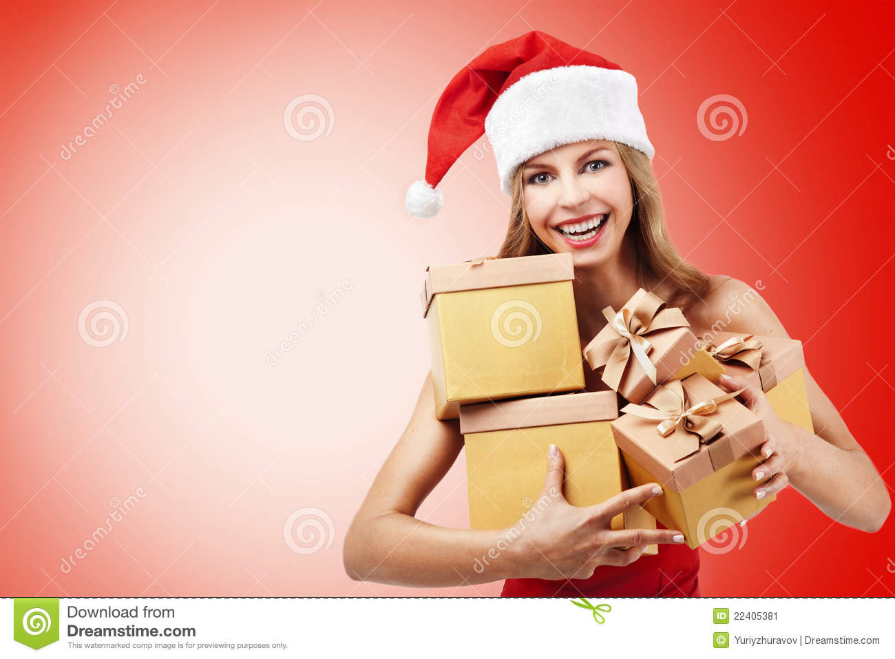 Happy Christmas Woman Holding Gifts Stock Image - Image of girl ...