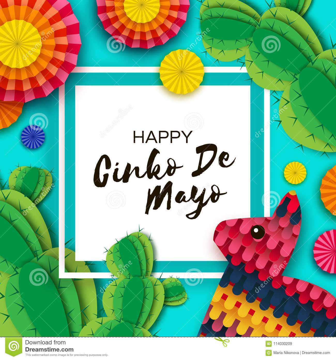 Happy cinco de mayo greeting card colorful paper fan funny pinata download happy cinco de mayo greeting card colorful paper fan funny pinata and cactus m4hsunfo