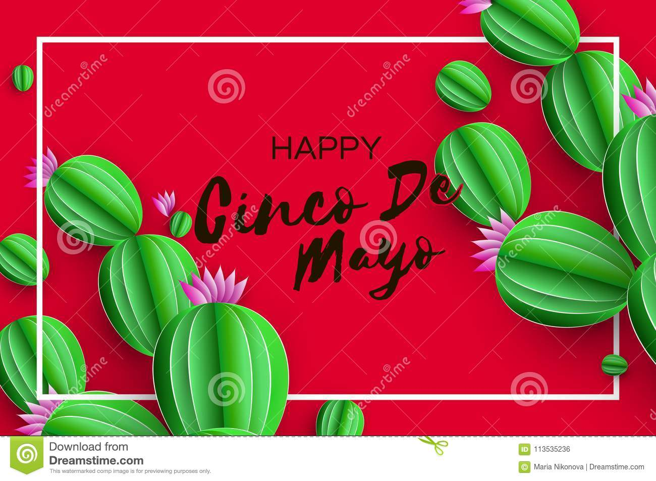 Happy Cinco De Mayo Greeting Card Pink Paper Flower And Cactus In