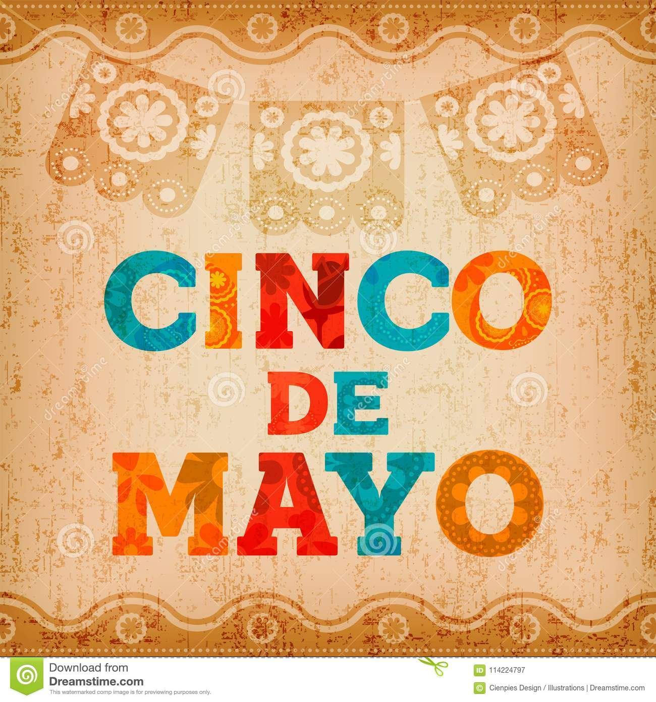 Cinco De Mayo Mexican Holiday Quote Greeting Card Stock Vector