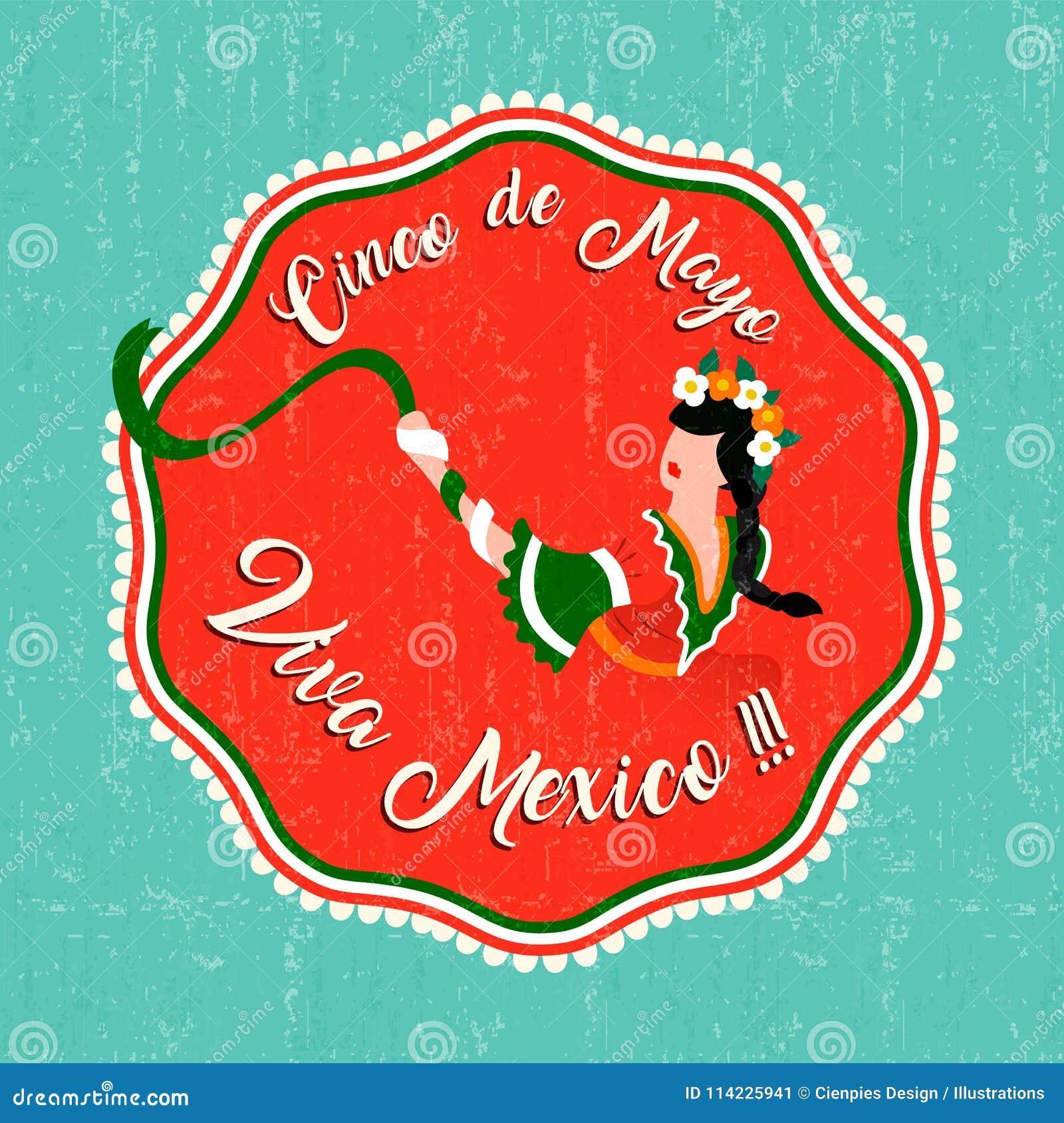 Happy Cinco De Mayo Party Card With Mexican Woman Stock Vector