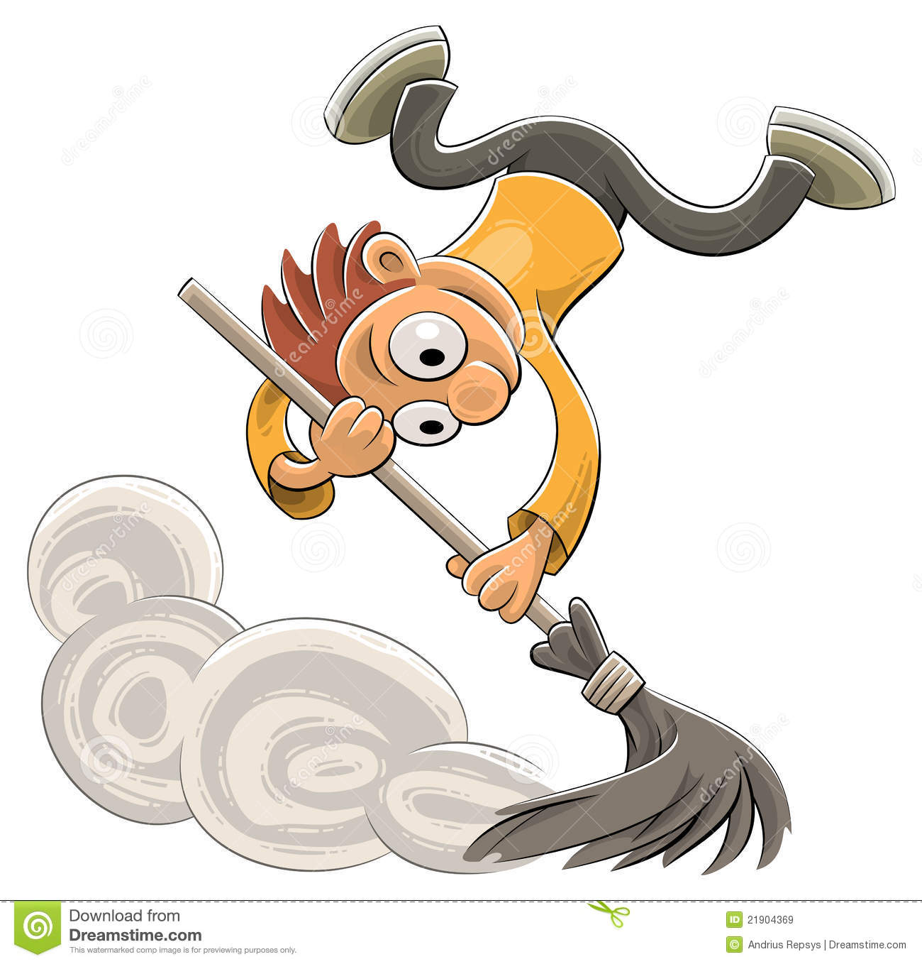 Happy Cleaner Sweeping Dust With A Broom Royalty Free ...